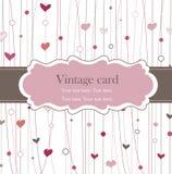 Marco de la vendimia con los corazones Imágenes de archivo libres de regalías