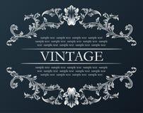 Marco de la vendimia del vector Negro retro real de la decoración del ornamento Fotografía de archivo