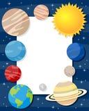 Marco de la vertical de los planetas de la Sistema Solar ilustración del vector