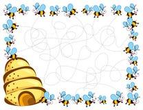 Marco de las abejas ocupadas de la historieta Imagen de archivo libre de regalías