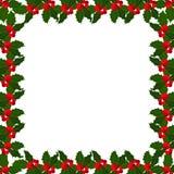 Marco de las bayas del acebo de la Navidad en el bacground blanco Ilustración del vector Foto de archivo