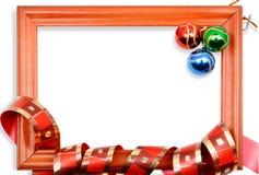 Marco de las bolas de la Navidad Fotografía de archivo