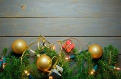 Marco de las decoraciones de la Navidad Imágenes de archivo libres de regalías
