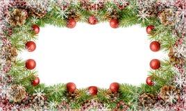 Marco de las decoraciones del Año Nuevo con los copos de nieve Foto de archivo