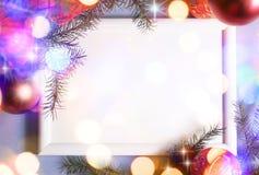 Marco de las luces de la Navidad fotografía de archivo