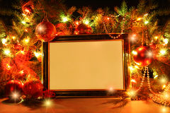 Marco de las luces de la Navidad fotografía de archivo libre de regalías