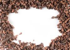 Marco de las semillas de cacao Fotos de archivo libres de regalías