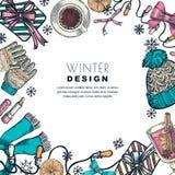 Marco de las vacaciones de invierno Ejemplo del bosquejo del color del vector Plantilla del diseño de la bandera o del cartel stock de ilustración