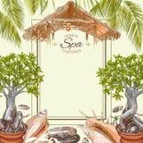 Marco de los bonsais del balneario stock de ilustración