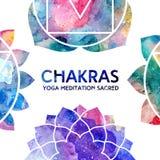 Marco de los chakras de la acuarela Imagen de archivo libre de regalías