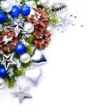 Marco de los copos de nieve de la decoración del árbol de navidad Fotografía de archivo libre de regalías