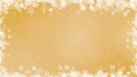 Marco de los copos de nieve del Año Nuevo del oro almacen de metraje de vídeo