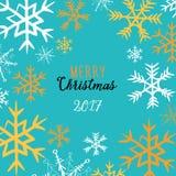 Marco de los copos de nieve del invierno Vector el ejemplo de copos de nieve de oro y blancos en fondo azul Feliz Navidad 2017 es Imagen de archivo libre de regalías