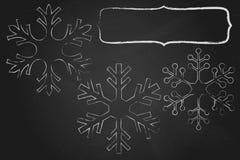 Marco de los copos de nieve de la tiza imágenes de archivo libres de regalías