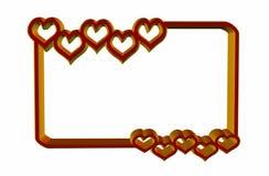 Marco de los corazones de la tarjeta del día de San Valentín Foto de archivo libre de regalías