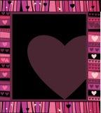 Marco de los corazones de la tarjeta del día de San Valentín Imagen de archivo
