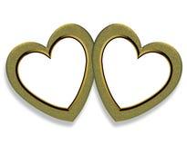 Marco de los corazones del oro de la tarjeta del día de San Valentín Foto de archivo libre de regalías