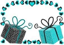Marco de los corazones de las cajas de regalo de los azules claros stock de ilustración