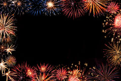 Marco de los fuegos artificiales del día de fiesta Foto de archivo