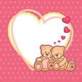Marco de los osos de peluche de la tarjeta del día de San Valentín Foto de archivo