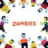 Marco de los personajes de dibujos animados del zombi Imágenes de archivo libres de regalías