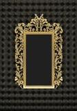 Marco de lujo del oro en el fondo negro Fotografía de archivo