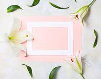 Marco de madera blanco en el fondo rosado adornado con las flores brillantes, espacio en blanco para un texto Visión superior, en Imagen de archivo