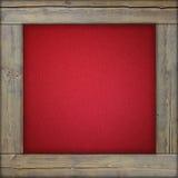 Marco de madera con la lona roja Fotografía de archivo libre de regalías