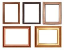 Marco de madera de la colección aislado en blanco Fotografía de archivo libre de regalías