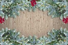 Marco de madera de la Navidad del Grunge Fotografía de archivo libre de regalías