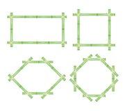 Marco de madera de los palillos de bambú verdes fijados Vector ilustración del vector