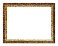Marco de madera de oro y marrón tallado envejecido imagen de archivo libre de regalías