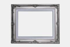 marco de madera de plata en fondo blanco aislado Imagenes de archivo