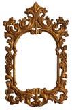 Marco de madera del espejo del oro viejo con los ornamentos fotografía de archivo