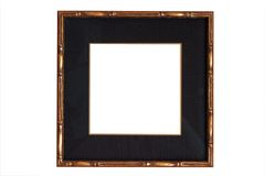 Marco de madera del oro con la estera negra Imagen de archivo