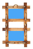 Marco de madera doble de la foto aislado en blanco imágenes de archivo libres de regalías