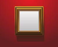Marco de madera en el ejemplo rojo del vector Foto de archivo