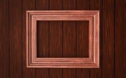 Marco de madera en el revestimiento de madera Imágenes de archivo libres de regalías