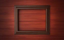 Marco de madera en el revestimiento de madera Fotos de archivo libres de regalías