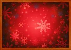 Marco de madera para la colocación del producto con el papel pintado de la Navidad de la falta de definición Fotografía de archivo