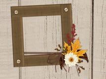 Marco de madera, pared de madera, follaje del otoño Fotografía de archivo libre de regalías