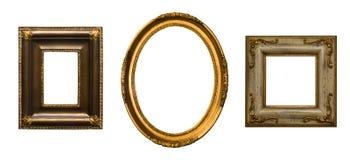 Marco de madera plateado oro Imagen de archivo