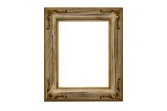 Marco de madera plateado oro Imagenes de archivo