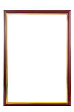 Marco de madera rojo con la frontera de oro dentro Imagenes de archivo