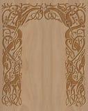 Marco de madera tallado de estilo celta Imágenes de archivo libres de regalías