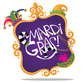 Marco de Mardi Gras Gold aislado en blanco Fotos de archivo