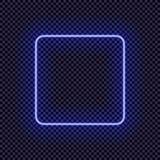 Marco de neón del vector, plantilla en blanco de la frontera, marco cuadrado luminoso libre illustration