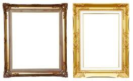 marco de oro antiguo 2 en blanco Foto de archivo libre de regalías