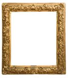 Marco de oro antiguo aislado en el fondo blanco Imagen de archivo libre de regalías