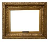 Marco de oro antiguo aislado en el fondo blanco Imágenes de archivo libres de regalías
